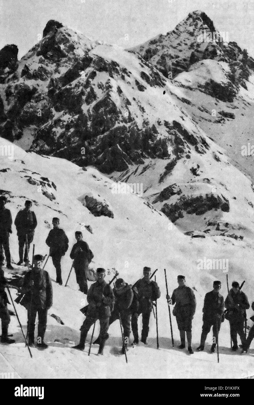 Austro-Hungarian troops in the Carpathian Mountains during World War I, 1917 - Stock Image