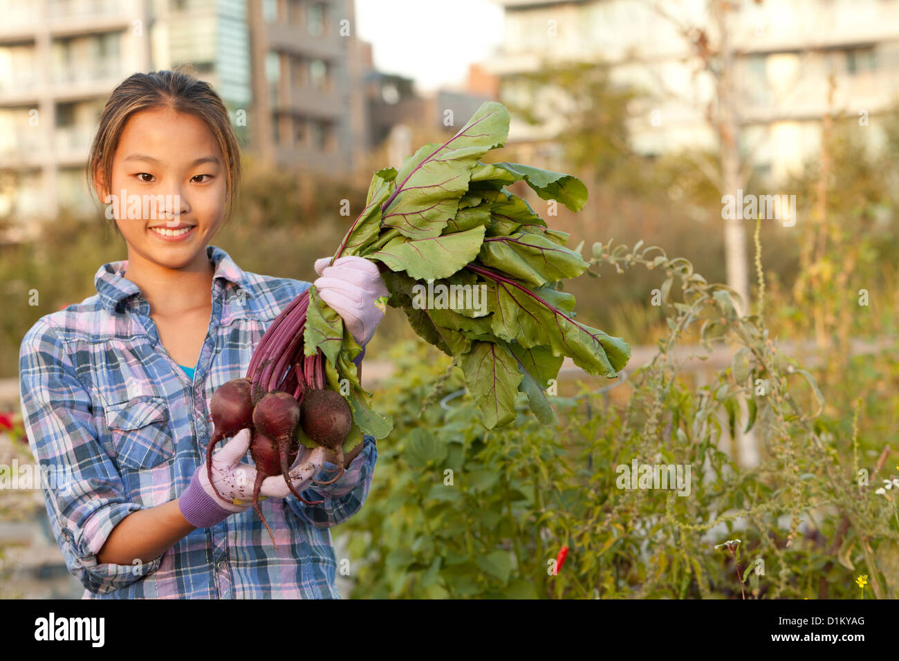 Japanese girl holding bunch of beets Stock Photo