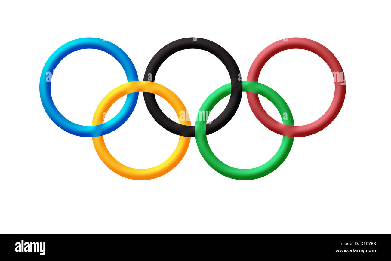 Olympic rings logo , symbol of Olympics games - Stock Image