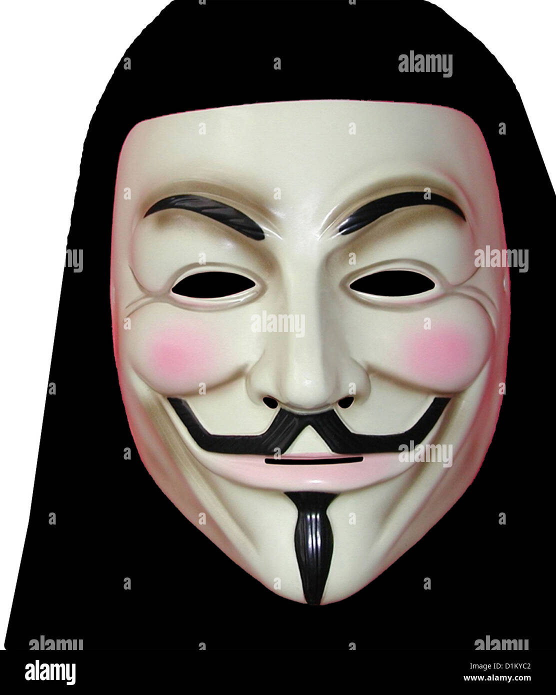 An illustration of an anonymous masked man symbolic of hidden activities like hacking - Stock Image