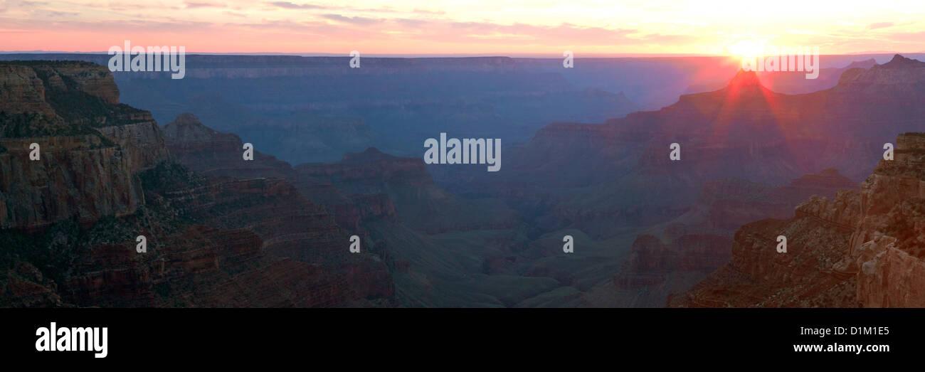 Panoramic photo of sunset from Cape Royal, North Rim, Grand Canyon National Park, Arizona, USA Stock Photo