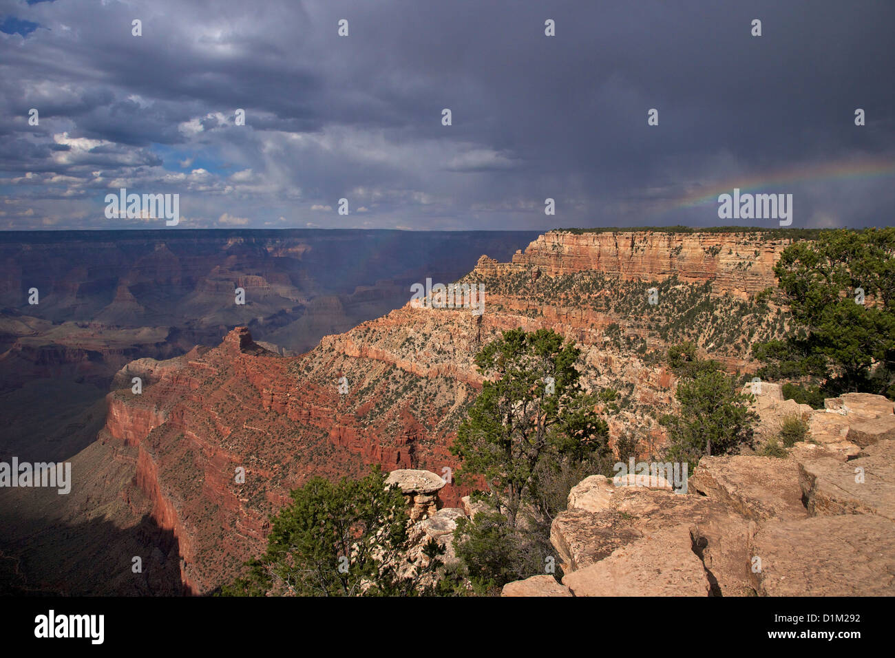 Stormy weather over South Kaibab Trail, South Rim, Grand Canyon National Park, Arizona, USA - Stock Image