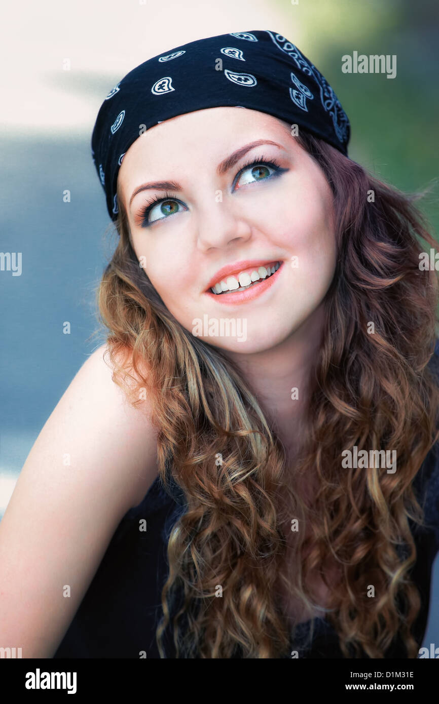 Portrait Of A Beautiful 20 Year Old Woman Outdoor Wearing
