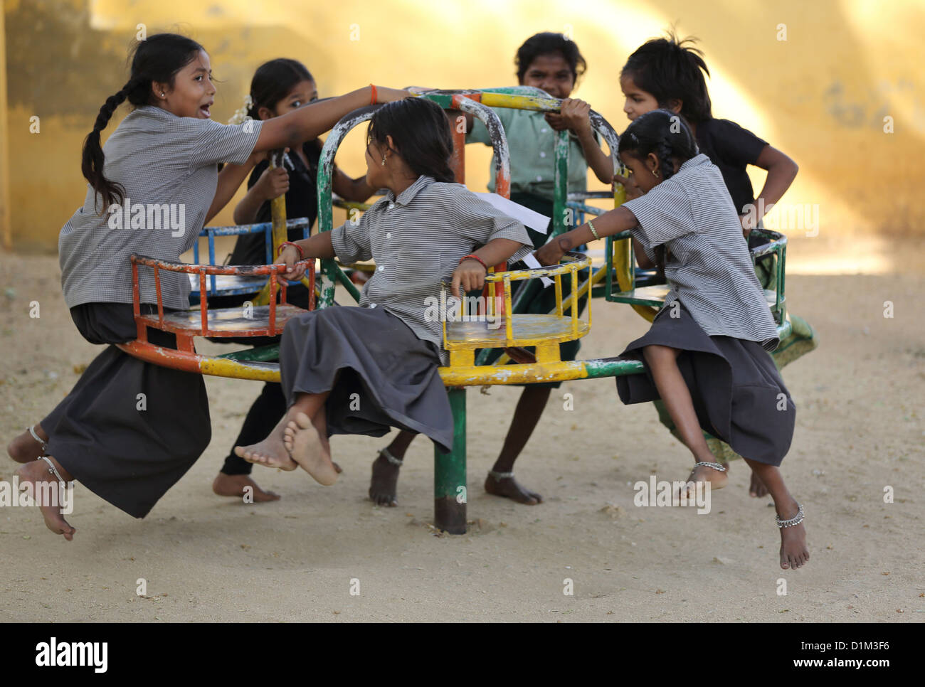 School children playing during school break Andhra Pradesh South India - Stock Image