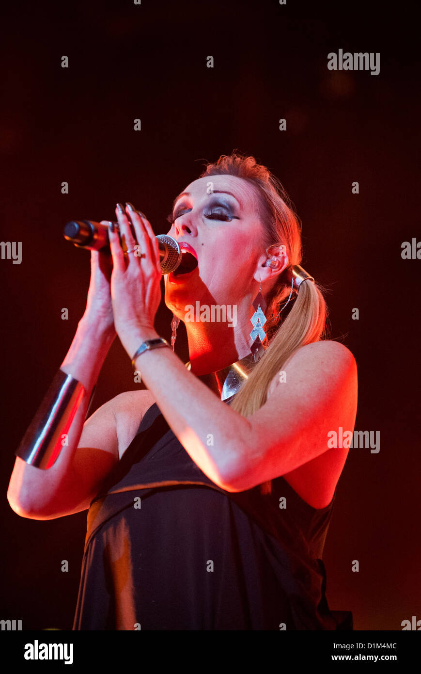 Susan Anne Sulley in concert with with her band the Human League, Wolverhampton Civic Hall, 2 December 2012. - Stock Image