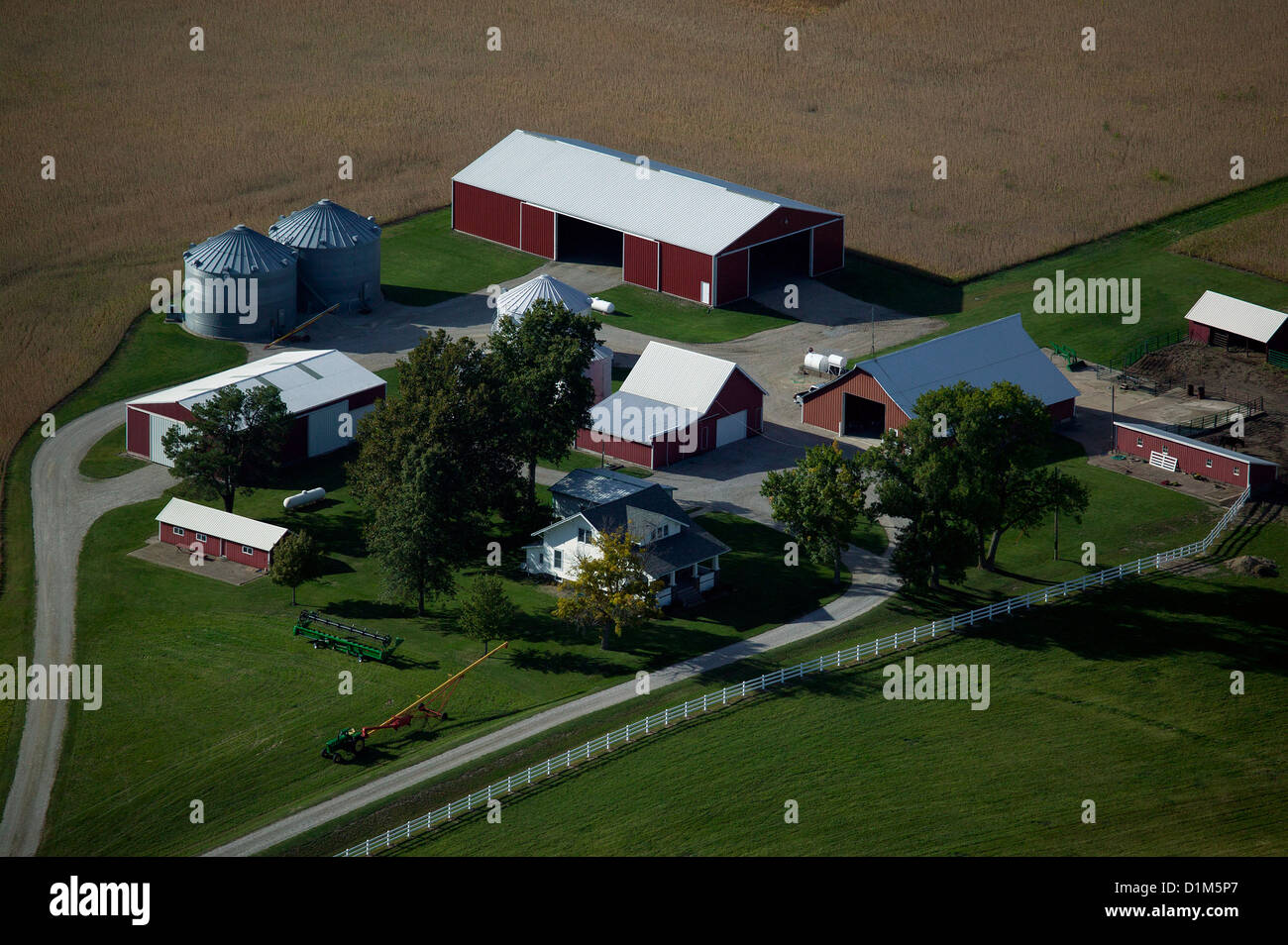 aerial photograph farmstead near Davenport, Iowa Stock Photo