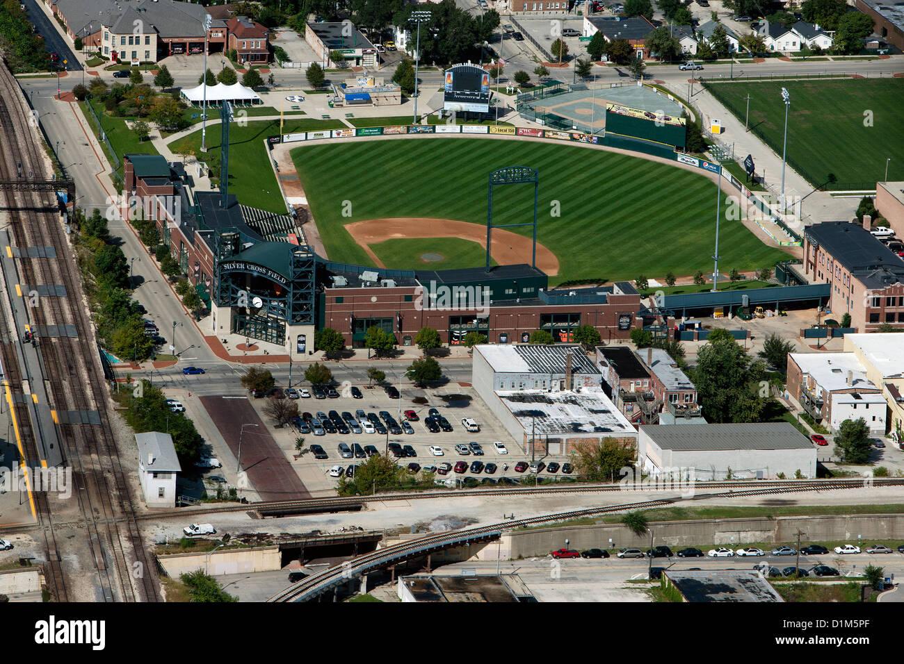 aerial photograph Silver Cross Field baseball stadium, Joliet, Illinois - Stock Image