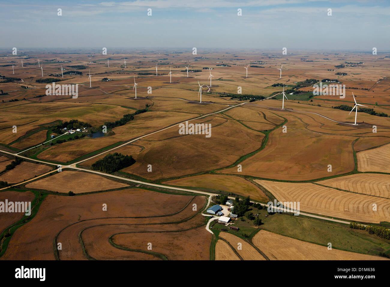 aerial photograph wind turbine farm Iowa - Stock Image