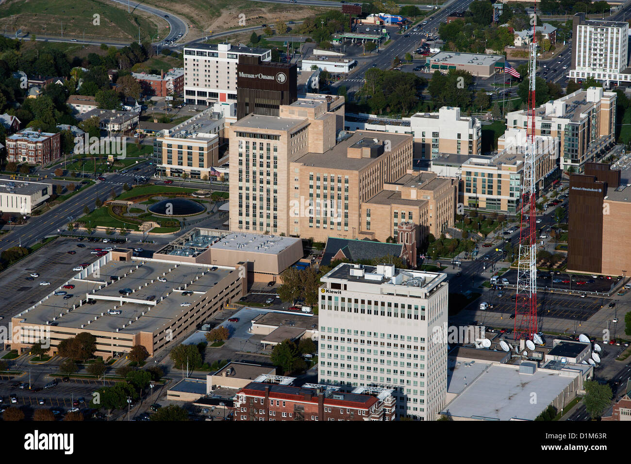 aerial photograph Kiewit and Mutual of Omaha headquarters, Omaha, Nebraska - Stock Image