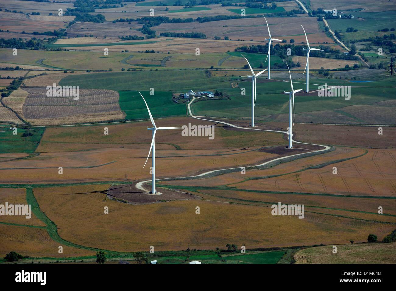 aerial photograph wind turbines near Council Bluffs, Iowa - Stock Image