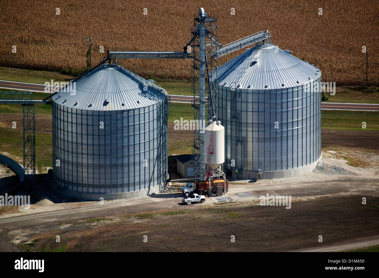 aerial photograph grain storage bins Iowa - Stock Image