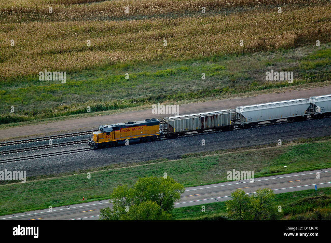 aerial photograph Union Pacific locomotive cars Nebraska - Stock Image