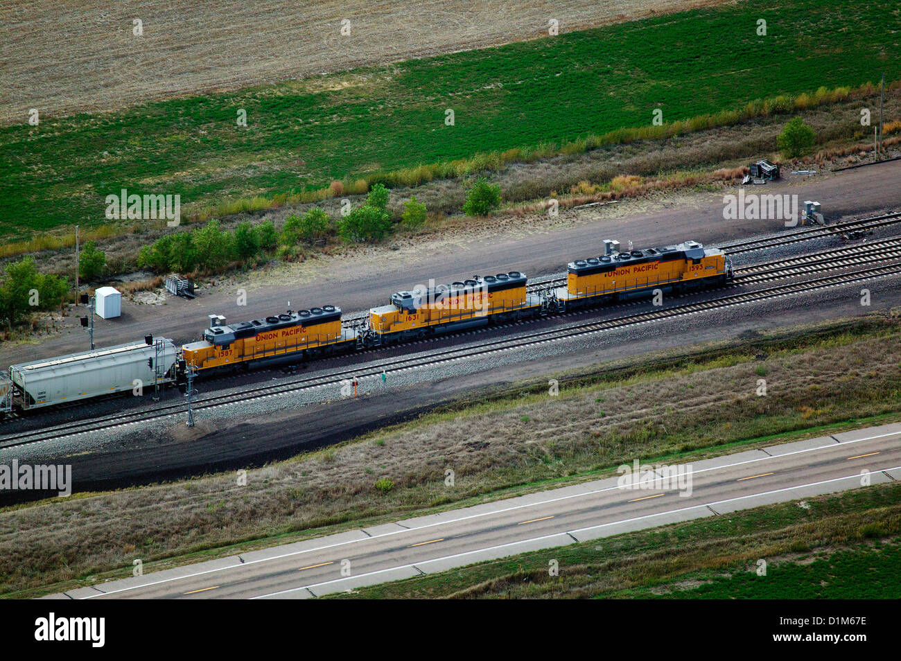 aerial photograph Union Pacific locomotives Nebraska - Stock Image