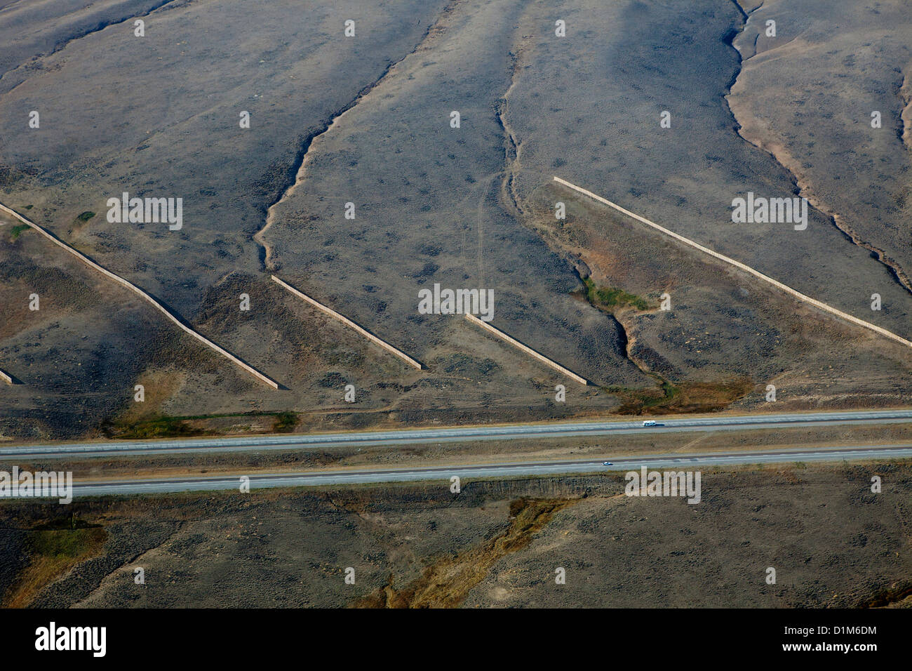 aerial photograph snow fences interstate I 80 southern Wyoming - Stock Image