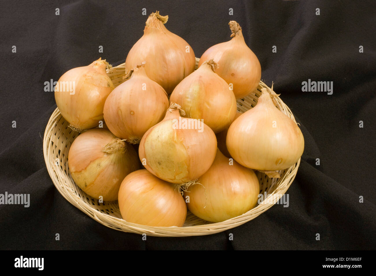 Basket of Onions Stock Photo