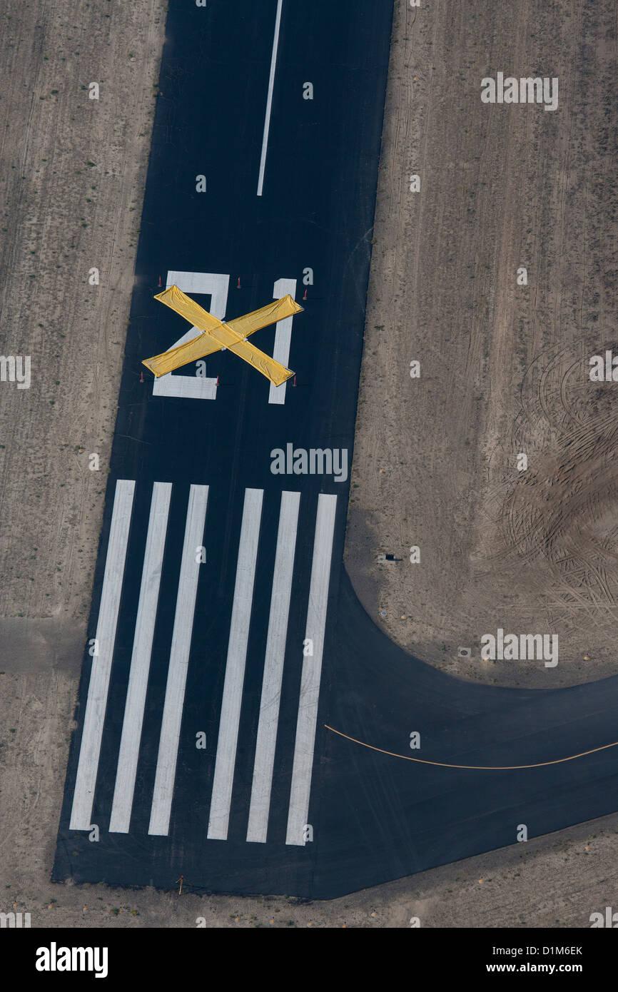 aerial photograph closed runway Wyoming - Stock Image