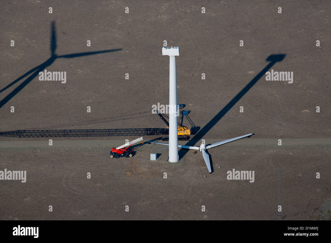 aerial photograph wind turbine maintenance wind farm southeastern Wyoming - Stock Image