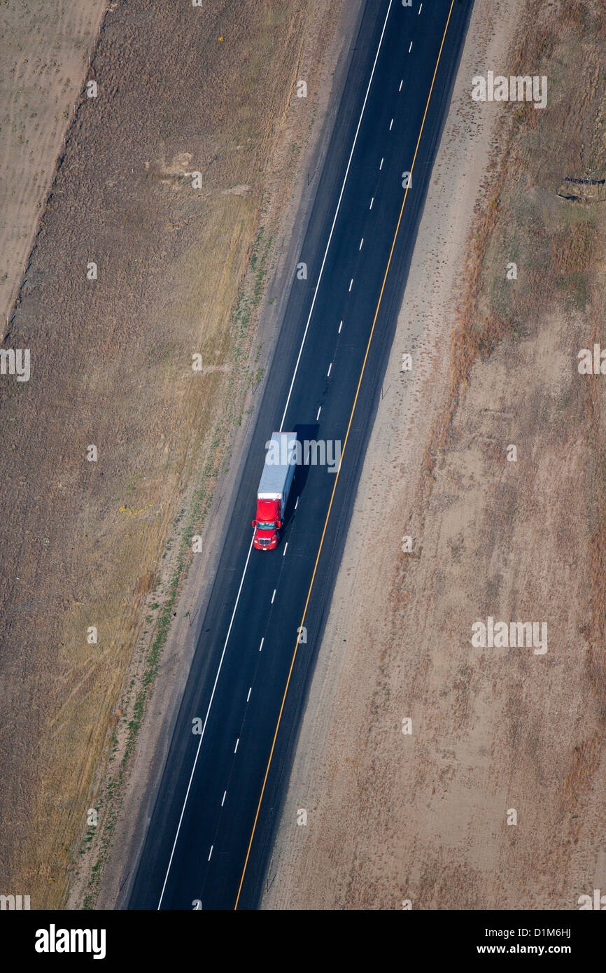 aerial photograph truck Interstate I 80 Wyoming - Stock Image