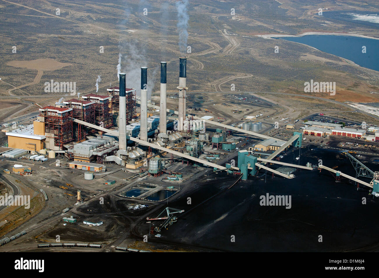 aerial photograph Jim Bridger coal power plant Rock Springs, Wyoming - Stock Image