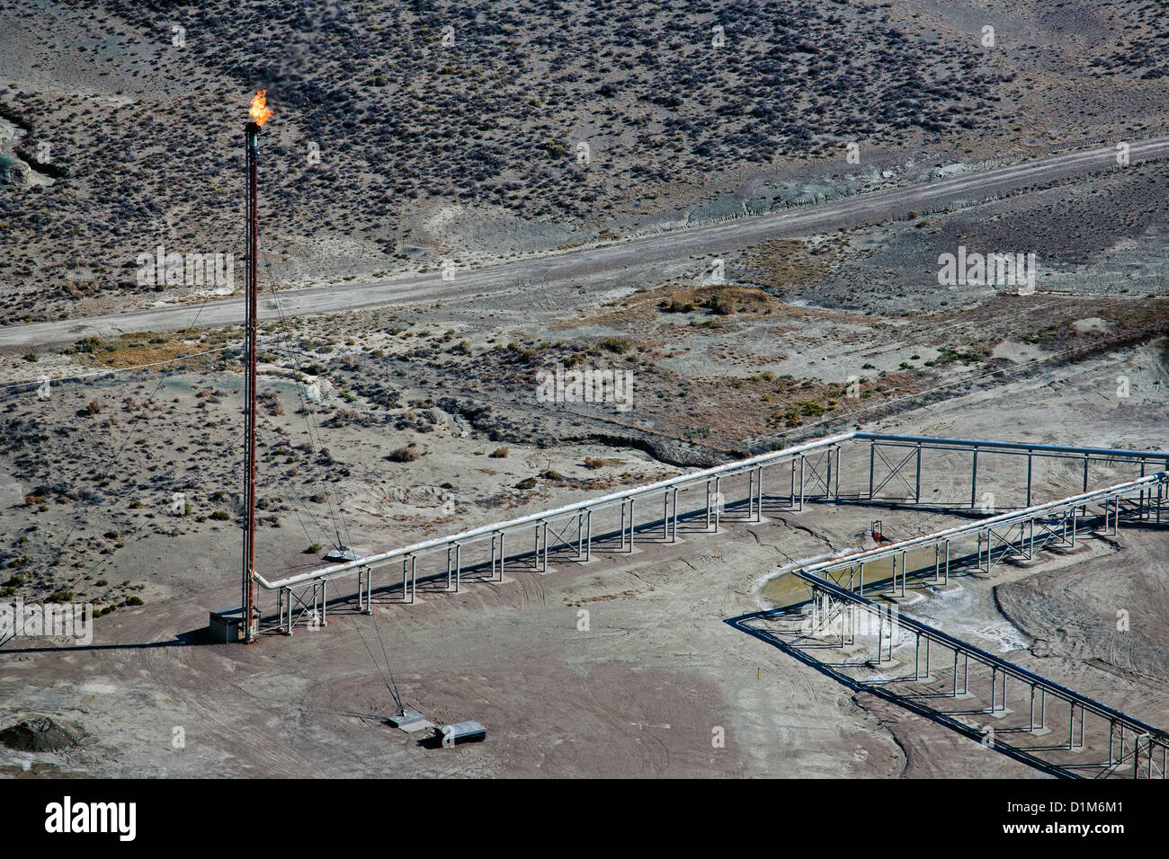 aerial photograph natural gas flare southern Wyoming - Stock Image