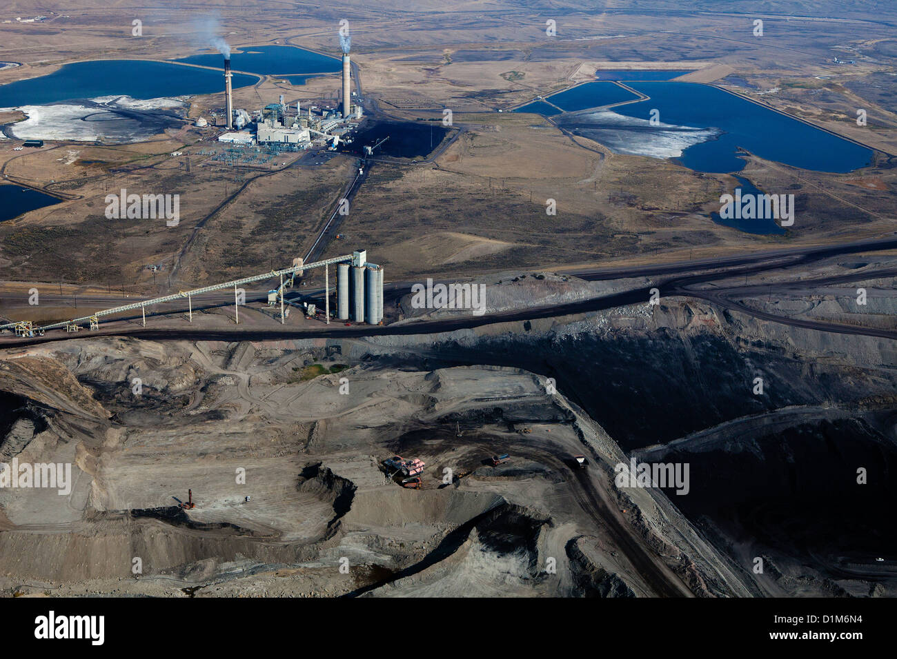 aerial photograph Westmoreland Coal Company Kemmerer Mine with Naughton Power Plant, Kemmerer, Wyoming - Stock Image