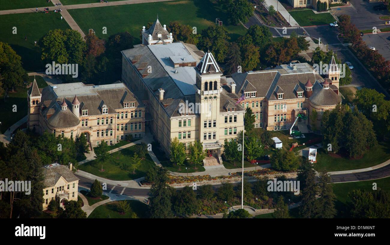 aerial photograph Old Main building, Utah State University, Logan, Utah - Stock Image