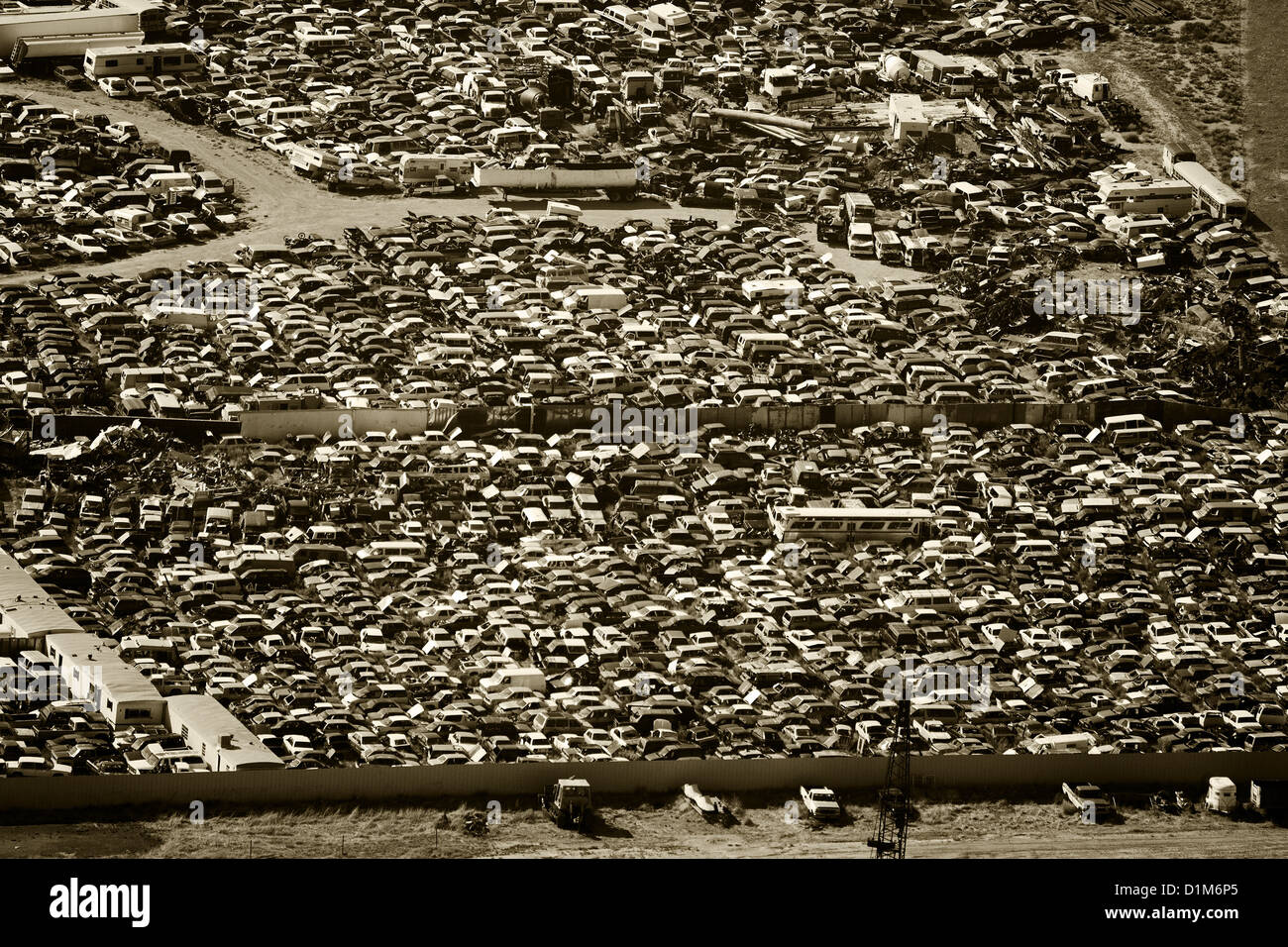 aerial photograph automobile junkyard southern Wyoming - Stock Image