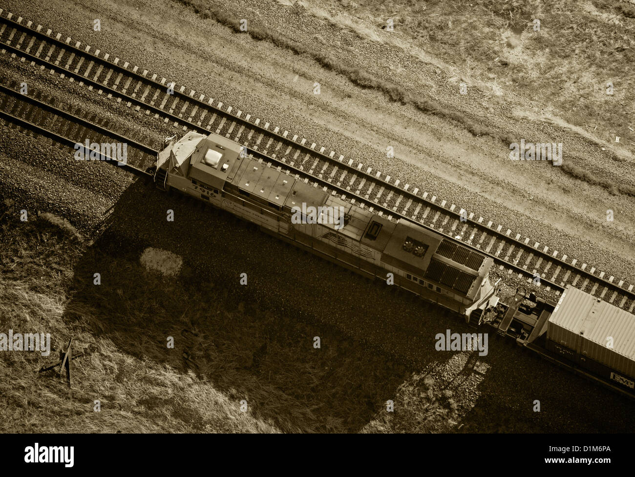 aerial photograph diesel Union Pacific locomotive southern Wyoming - Stock Image