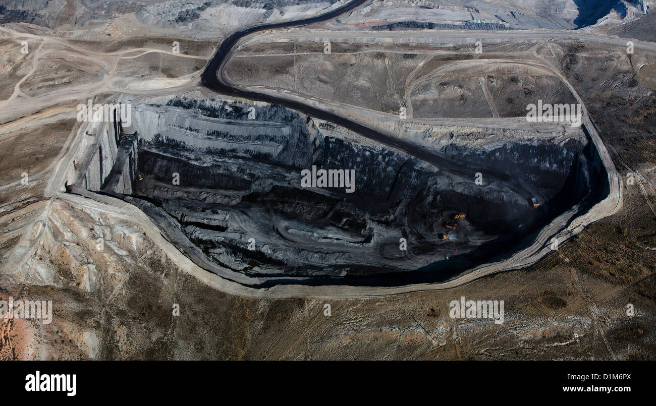 aerial photograph Kemmerer Open Pit Coal Mine, Kemmerer, Wyoming Stock Photo