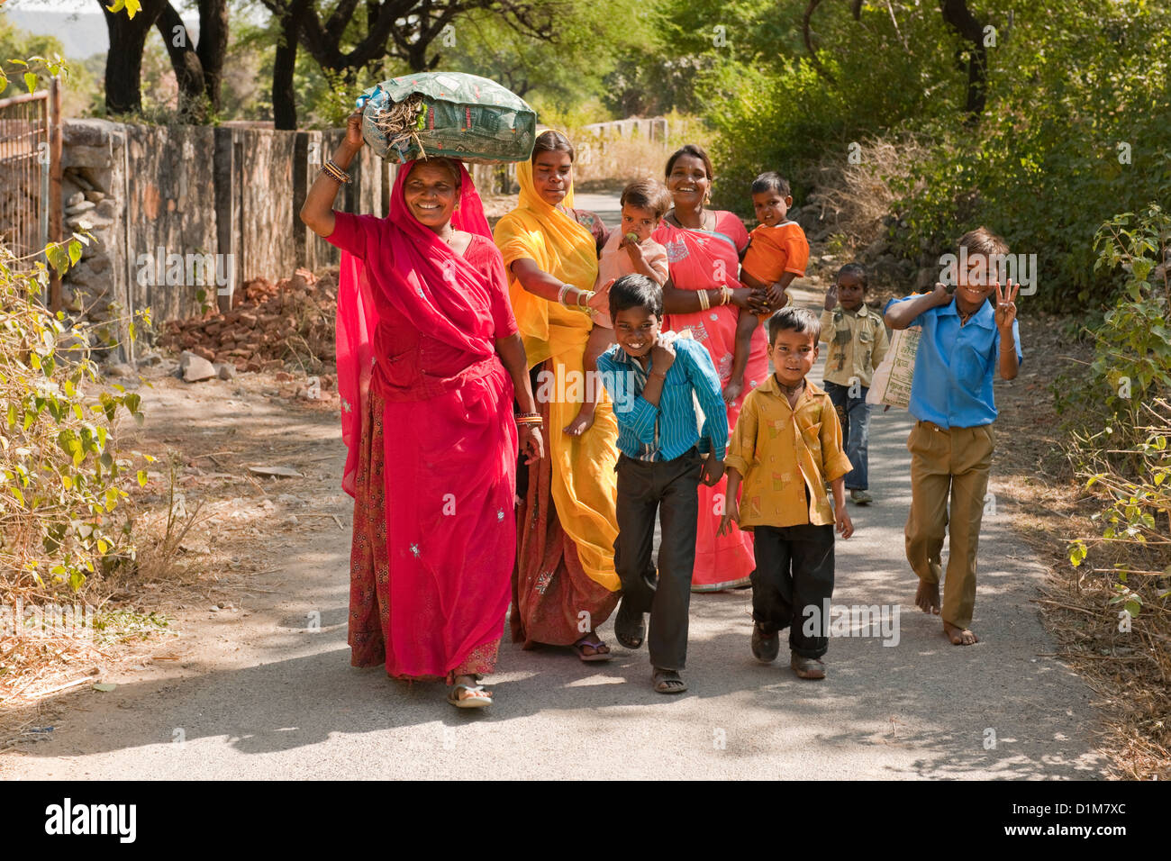 A happy smiling colorful Indian family group of women boys girls and ...