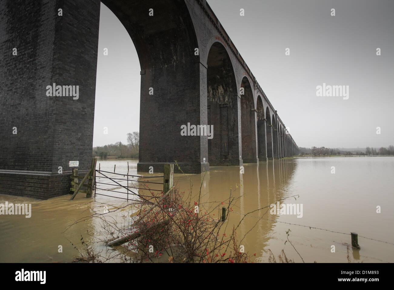 THE FLOODING AT HARRINGWORTH VIADUCT,NORTHANTS, - Stock Image