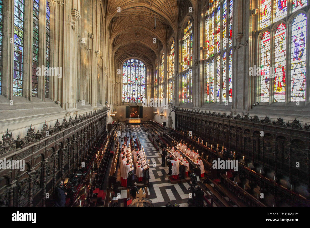 THE KINGS COLLEGE CHOIR CAMBRIDGE REHEARSING FOR THE CHRISTMAS EVE ...