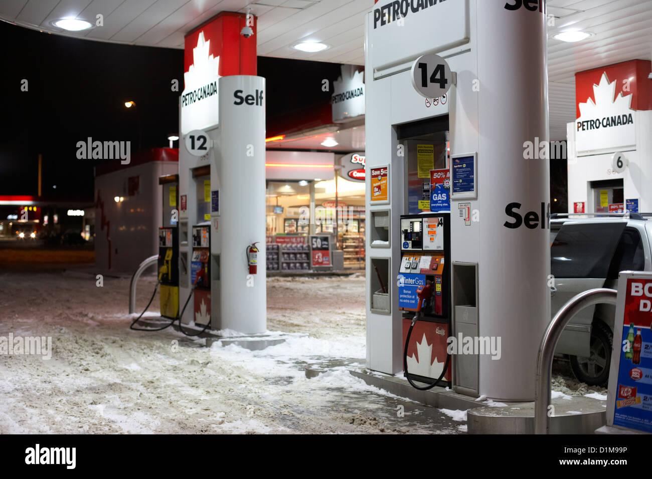 All Weather Tire >> petro canada winter gas fuel pump at service station Regina Stock Photo: 52692130 - Alamy