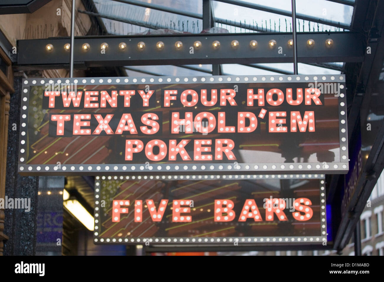 Texas hold em poker neon sign - Stock Image