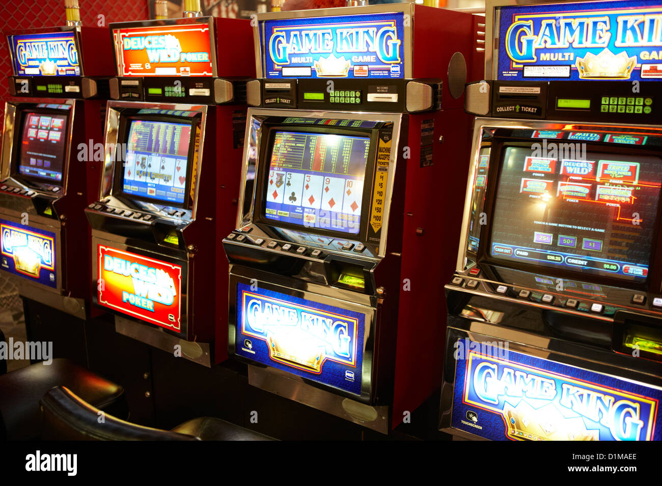 video poker fobt fixed odds betting terminals gaming gambling machines Las Vegas Nevada USA - Stock Image