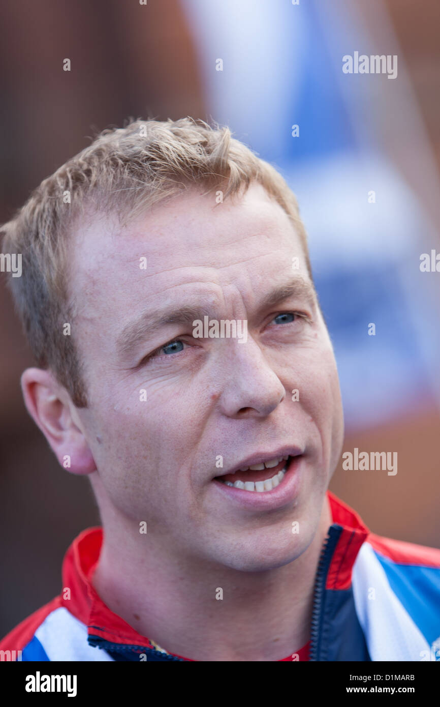 Sir Chris Hoy, Scottish Olympic champion, during the Scottish Homecoming Parade for Scottish Olympic-medal winners. - Stock Image