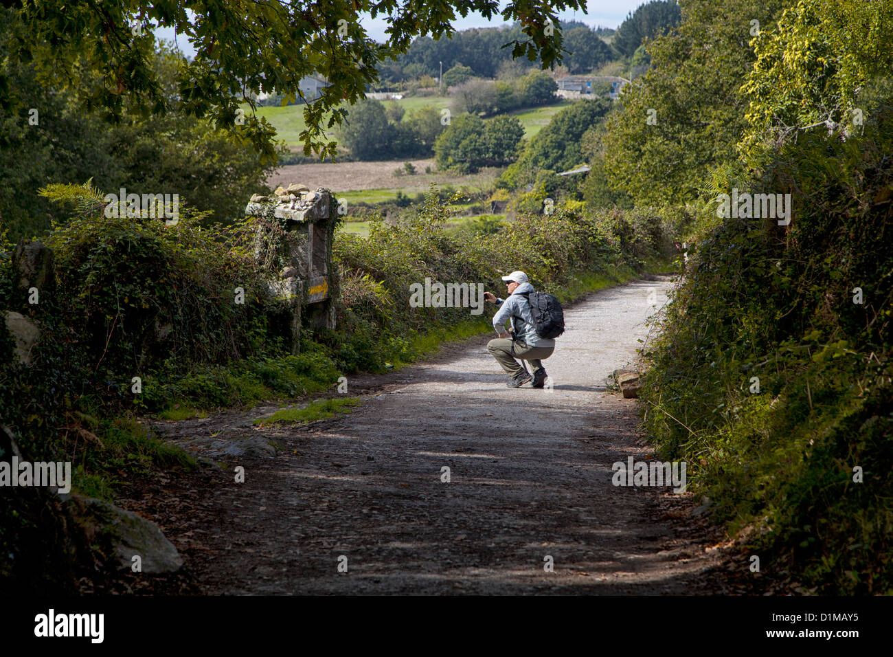 A pilgrim stops for a moment of silence at a shrine located along a country road in Galica Spain while on the Camino - Stock Image