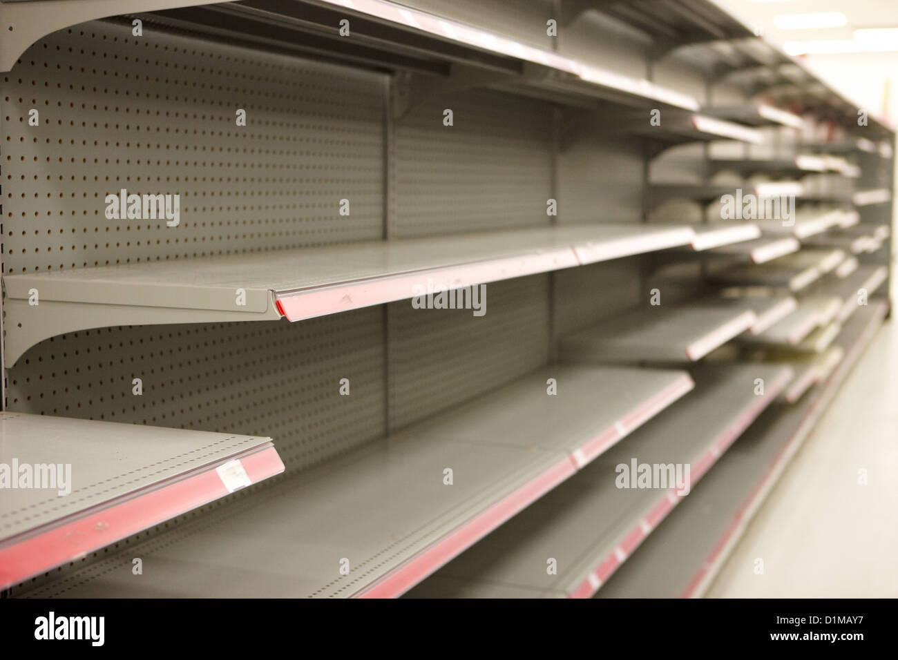 empty shelves in a store in Saskatoon saskatchewan canada - Stock Image