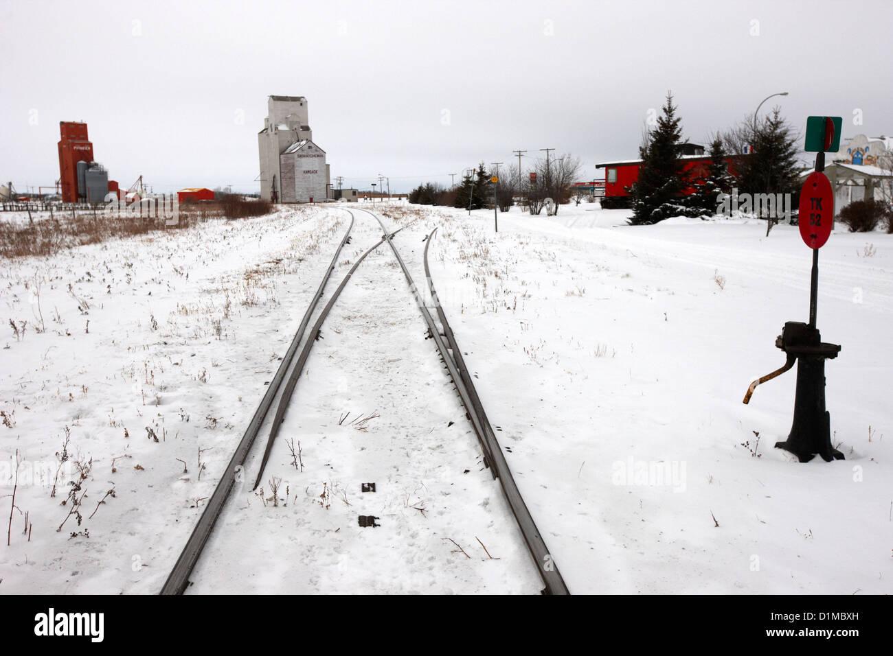 CN canadian national railway tracks and grain silos Kamsack Saskatchewan Canada - Stock Image
