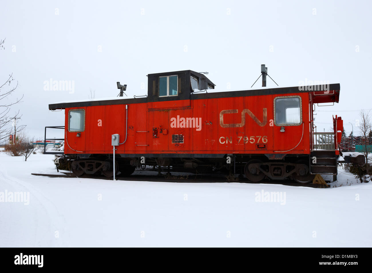 CN Caboose at CN Trackside gardens used as a community project Kamsack Saskatchewan Canada Stock Photo