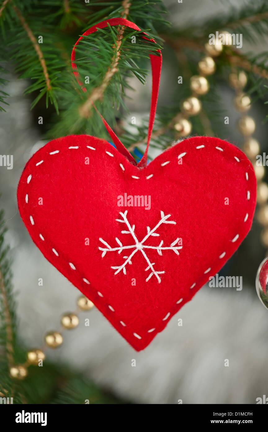 Red Heart Felt Christmas Tree Decoration Stock Photo Alamy