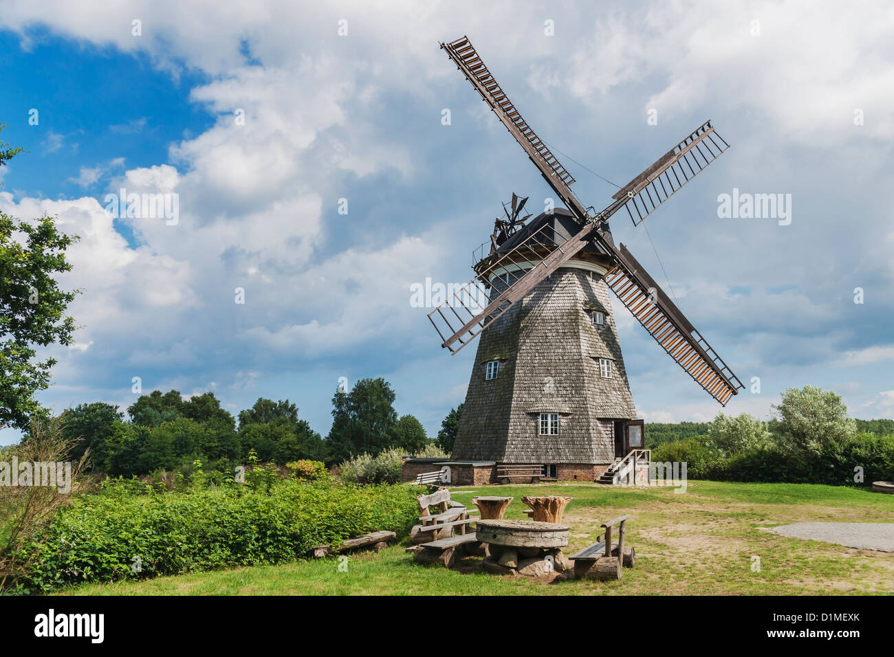 Dutch windmill from the 19th Century, Benz, Usedom Island, Vorpommern-Greifswald, Mecklenburg-Western Pomerania, - Stock Image