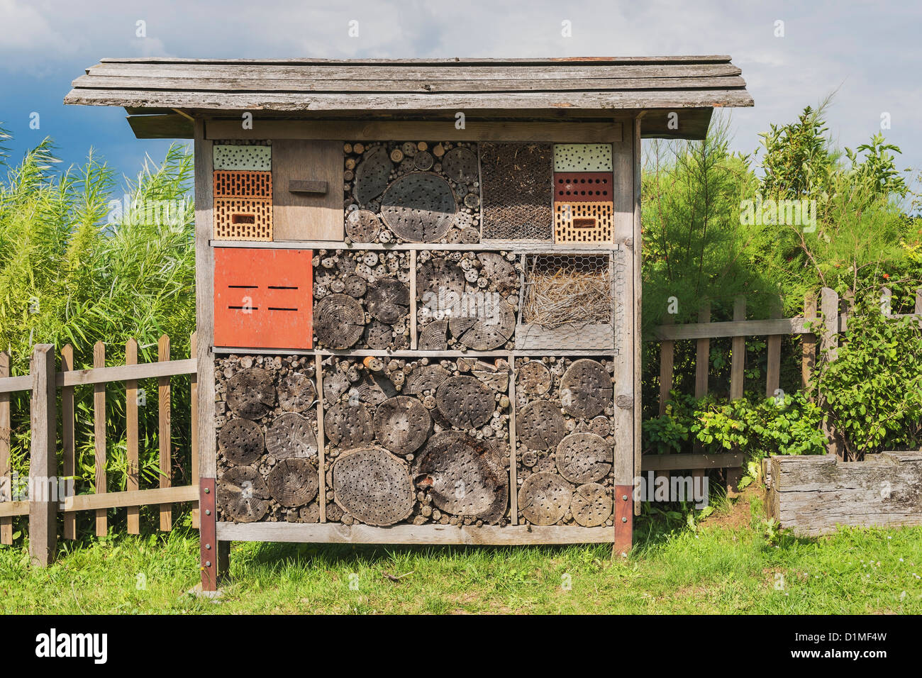 An insect hotel is an artificial biotop for insects. Stock Photo