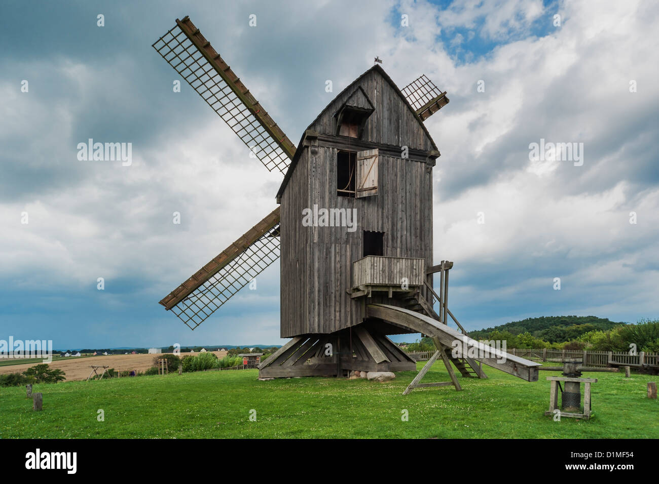 In 1779 built windmill, post mill, Pudagla, Usedom Island, County Vorpommern-Greifswald, Mecklenburg-Western Pomerania, - Stock Image