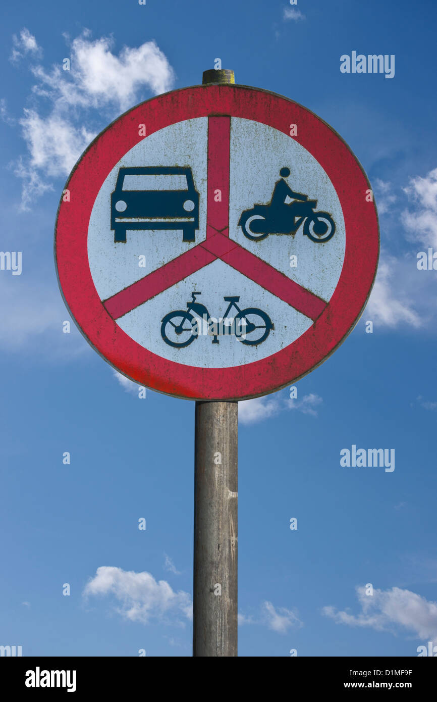 Polish road sign, ban on motorcycles, mopeds and cars, Poland, Europe, background sky Stock Photo