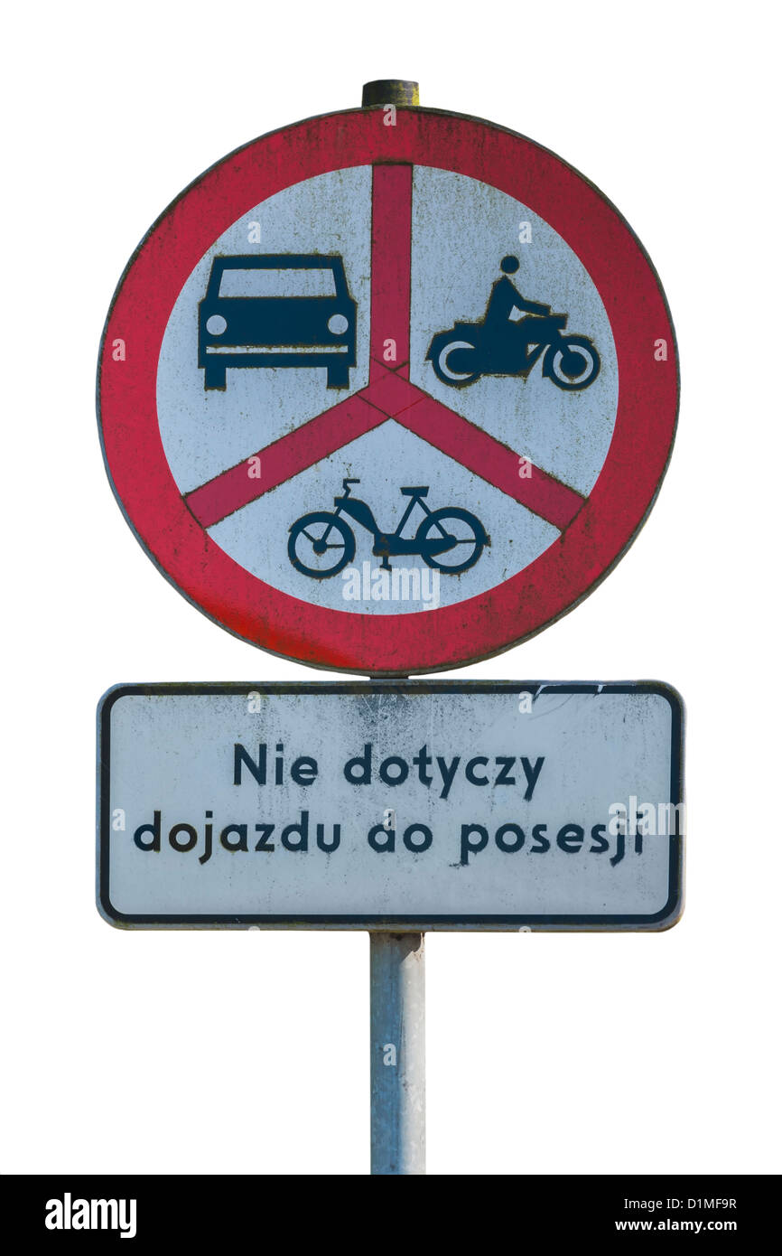 Polish road sign, ban on motorcycles, mopeds and cars, Poland Stock ...