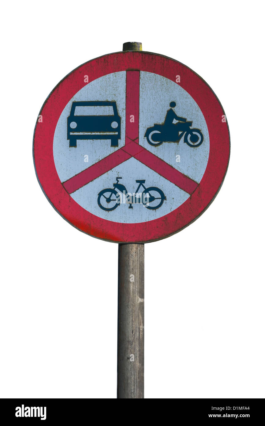 Polish road sign, ban on motorcycles, mopeds and cars, Poland, Europe, background white Stock Photo