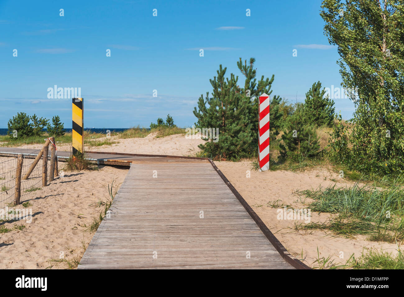 Usedom Island, Border between Ahlbeck, Germany and Swinoujscie, Poland in Europe - Stock Image