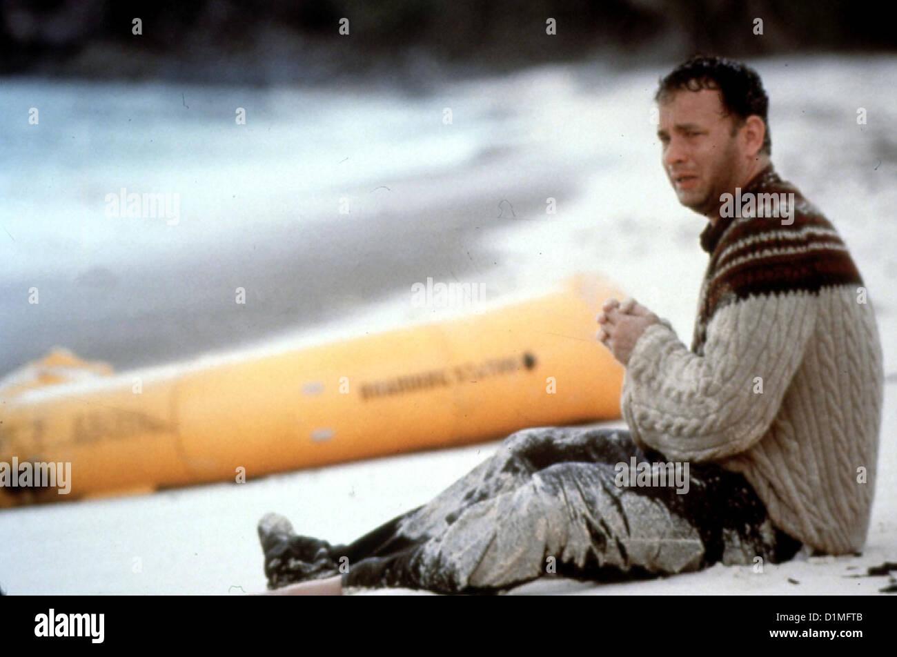 Verschollen  Cast Away  Tom Hanks Kurierdienst-Manager Chuck Noland (Tom Hanks) strandet nach einem Flugzeugabsturz auf einer Stock Photo