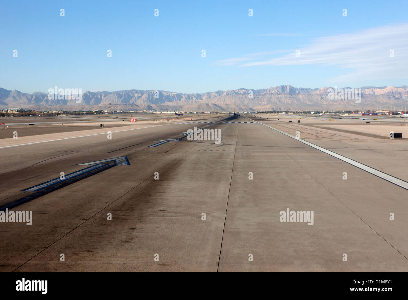 looking down the runway at McCarran International airport Las Vegas Nevada USA - Stock Image